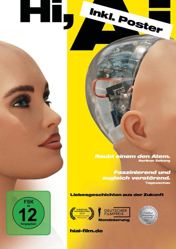 Hi AI Dokumentarfilm Poster mit humanoidem Roboter bzw. künstlicher Intelligenz